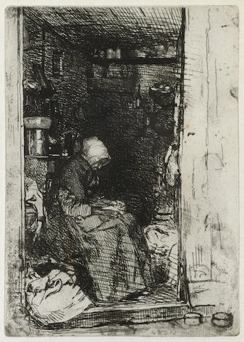James Abbott McNeill Whistler-La Vieille au Loques, from Twelve Etchings from Nature Series-1858