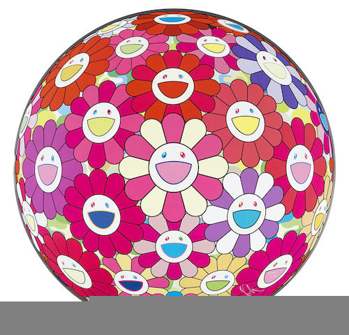 Takashi Murakami-Flower Ball (3D) Papyrus; Flower Ball (3D) Red, Pink, Blue; Flower Ball (3D) There is Nothing Eternal in this World; Flower Ball (3D) - Turn Red!; Flower Ball (3D) Groping for the Truth-2014
