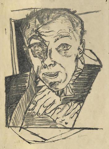 Max Beckmann-Selbstbildnis, pl. 1, from Die Holle-1919