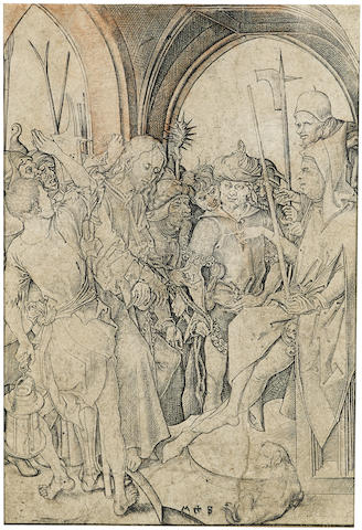 Martin Schongauer-Christ before Annas, pl. 3, from the Passion-1480