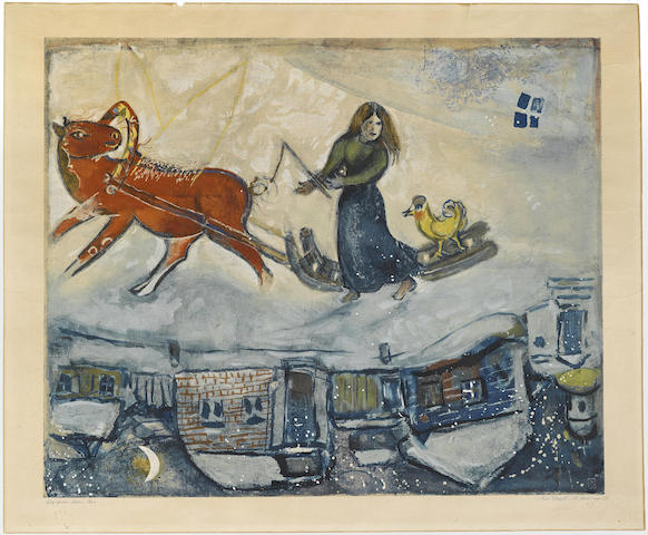 Marc Chagall-After Marc Chagall - Le Cheval rouge-1965