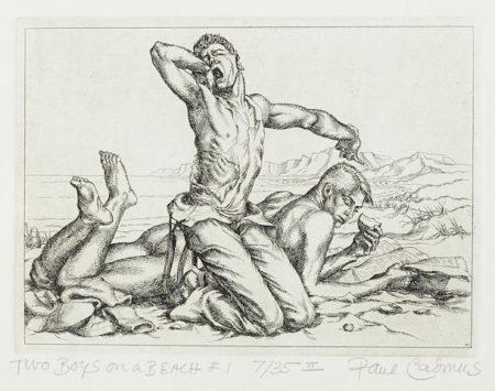 Paul Cadmus-Two Boys on a Beach #1, from Twelve Etchings-1938