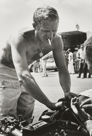 Barry Feinstein-Steve McQueen, Shirtless, Riverside Race Track, California-1963