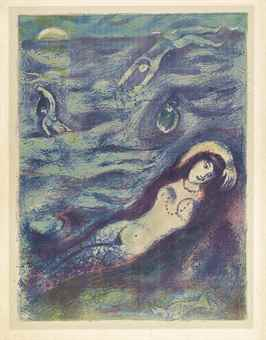 Marc Chagall-So I came forth of the Sea and sat down on the edge of an island in the moonshine..., Plate 5, from Four Tales from the Arabian Nights-1948