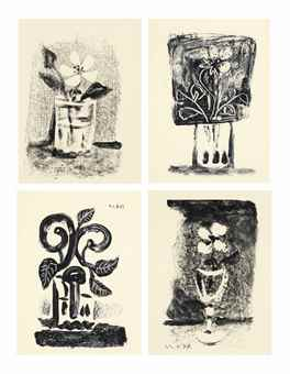 Pablo Picasso-Flowers in a Glass: Seven Prints-1947