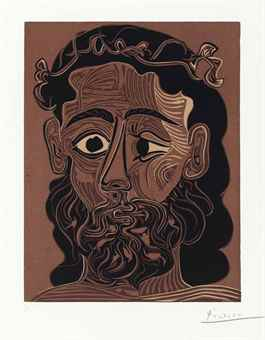 Pablo Picasso-Homme barbu couronne-1962