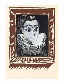 Pablo Picasso-La Dame a la Collerette (Portrait de Jacqueline a la Fraise)-1962