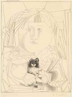Pablo Picasso-Paloma et sa Poupee, Fond blanc-1952