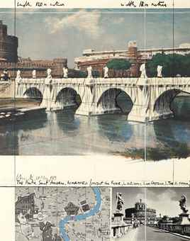 Christo and Jeanne-Claude-The Ponte Sant'Angelo, Wrapped, Project for Rome-1989
