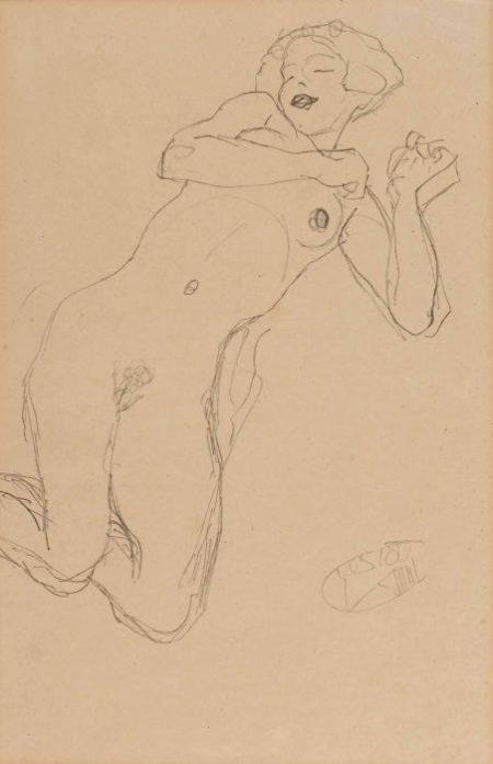 Gustav Klimt-(i) Liegender weiblicher Akt; (ii) Damenportrat-