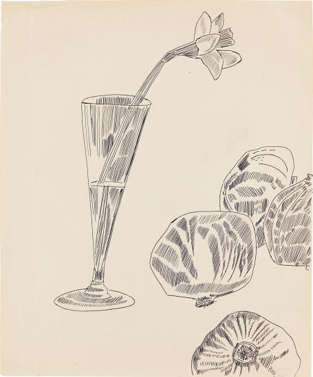 Andy Warhol-Still-Life: Flowers And Fruit-1957