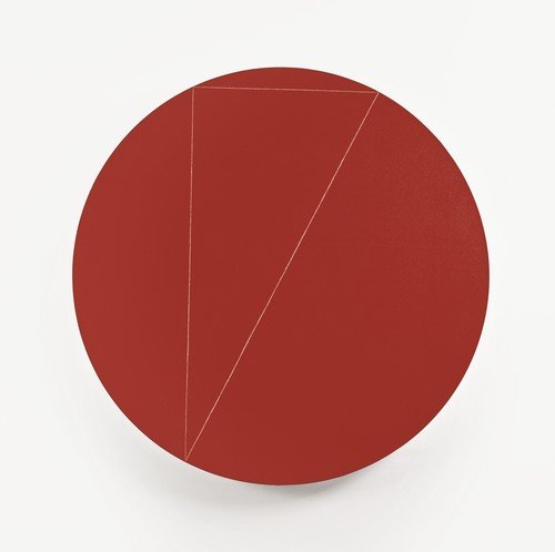 Robert Mangold-Triangle Within A Circle (Red)-1974