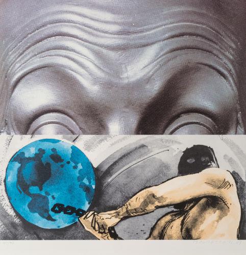 John Baldessari-(i) Raised Eyebrows; (ii) Furrowed Foreheads: Figure with Globe, 2009-2009