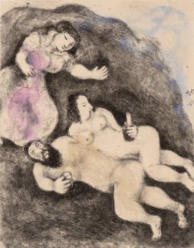 Marc Chagall-Loth et ses filles, pl. 9, from Die Bibel-1958