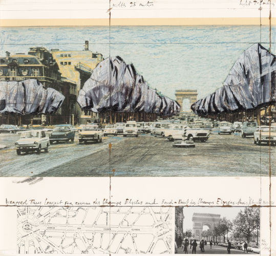 Christo and Jeanne-Claude-Wrapped Trees, Project for the Avenue des Champs-Elysees and Rond-Pont des Champs-Elysees, Paris-1992