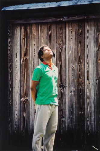 Lee Jaffe-Untitled (Jean-Michel Basquiat in green shirt)-1984