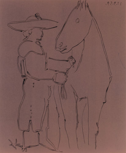 Pablo Picasso-Picador et cheval-1959