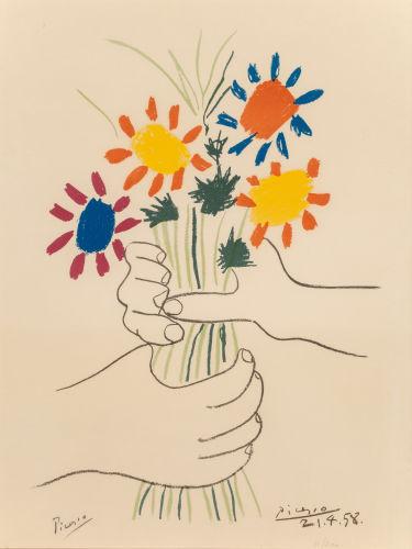 Pablo Picasso-After Pablo Picasso - Fleurs et mains-1958