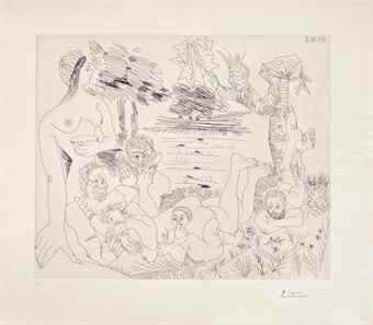 Pablo Picasso-Scene pastorale poussinesque sur le theme de pan et syrinx, from Series 347-1968