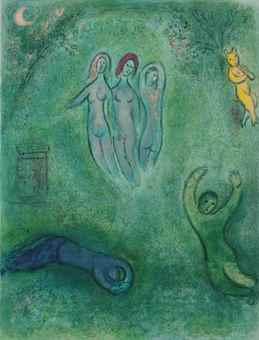 Marc Chagall-Le Songe de Daphnis et les Nymphes, from Daphnis et Chloe-1961