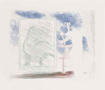 David Hockney-A Picture of Ourselves, from The Blue Guitar-1977