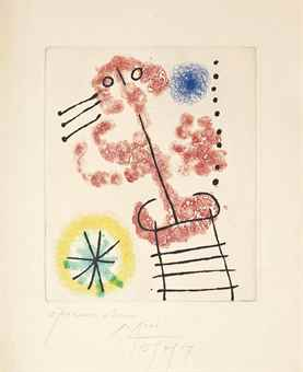 Joan Miro-Untitled, from Feuilles Eparses-1957