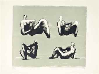 Henry Moore-Four reclining Figures, from Omaggio a Michelangelo-1974
