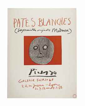 Pablo Picasso-Pates Blanches, Galerie Folklore, Lyon-1958