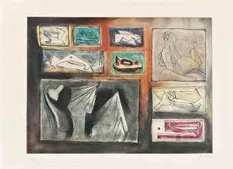 Henry Moore-Sculptural Ideas 2, from Sculptural Ideas-1980