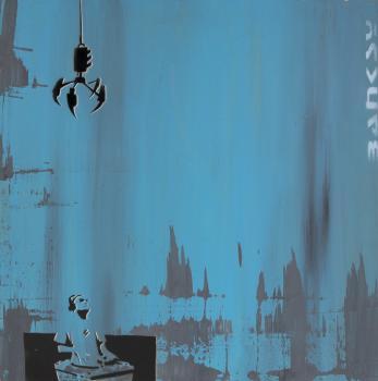 Banksy-Untitled (Dj and Crane)-1999
