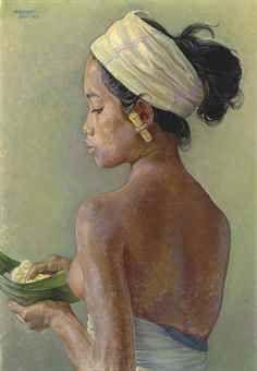 Rudolf Bonnet-Balinese Beauty Holding a Rijstbald-1955