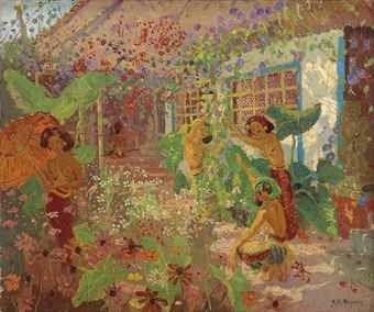 Adrien Jean Le Mayeur De Merpres-Dancers in the Garden, Bali-