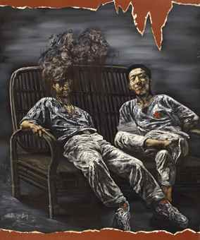 He Sen-Two Friends in a Chair-1991