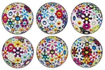 Takashi Murakami-Flowerball Sexual Violet No. 1 (3D); Flower Ball (3-D) Sequoia Sempervirens; Floweball Brown; Flower Ball (3-D) Autumn 2004; Flower Ball (Lots of Colors); & Flowerball Cosmos (3D)-2013