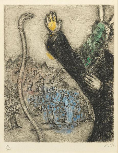 Marc Chagall-Moise et le serpent, pl. 28, from La Bible-1939