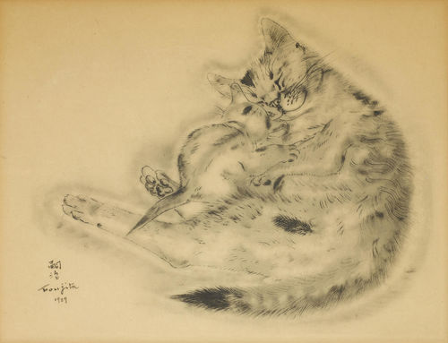 Tsuguharu Foujita-3 Plates, from Book of Cats-1929