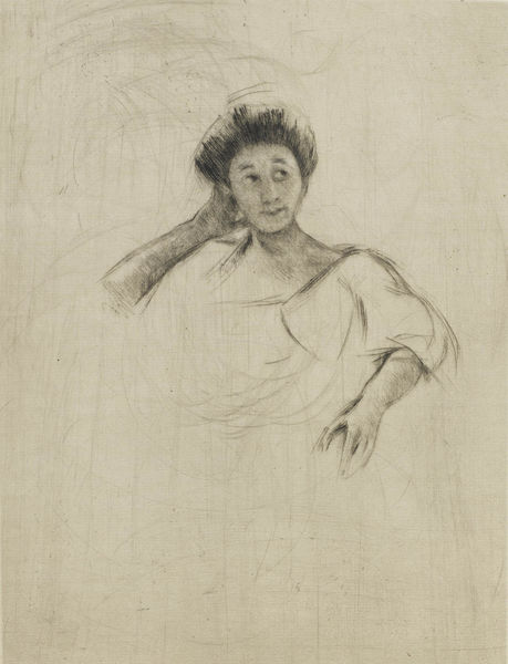 Mary Cassatt-Woman Posed with Hand at Back of Head-1910