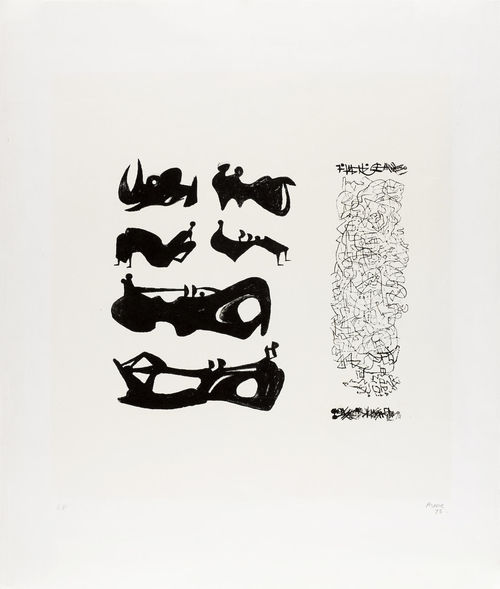 Henry Moore-Silhouette Figures with Border Design-1973