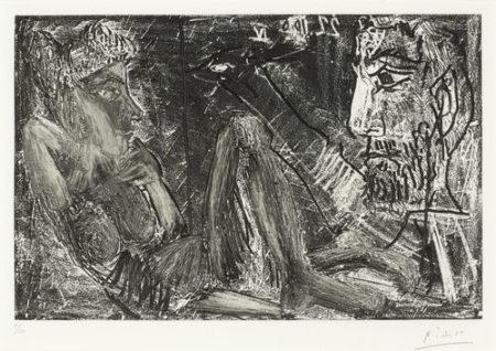 Pablo Picasso-Homme et Femme-1966