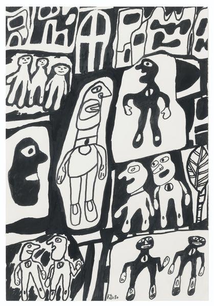 Jean Dubuffet-Site Avec 12 Personnages-1980