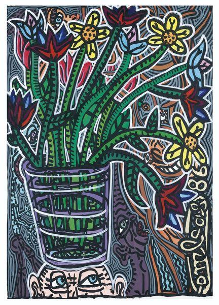 Robert Combas-Composition Aux Fleurs-1986