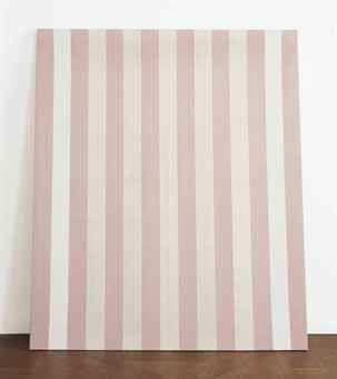Daniel Buren-Peinture acrylique blanche sur tissu raye blanc et rouge-1971