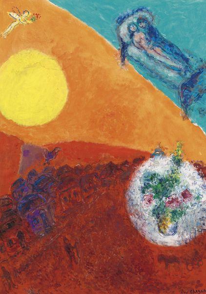 Marc Chagall-Repos Dans Le Ciel Multicolore-1980