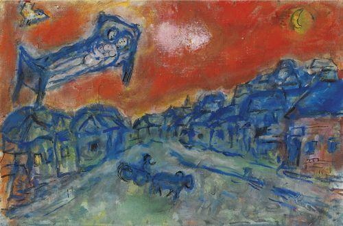 Marc Chagall-Les Amoureux Dans Le Ciel Rouge De Vitebsk-1975