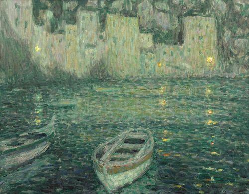 Henri Eugene Le Sidaner-Les Maisons Du Port Au Clair De Lune-1923
