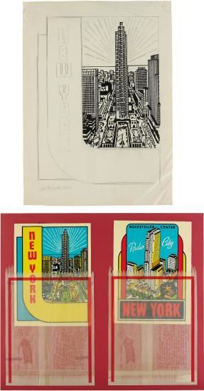 Joe Tilson-New York Decals 3 And 4; And Untitled (New York - Rockefeller Center)-1967
