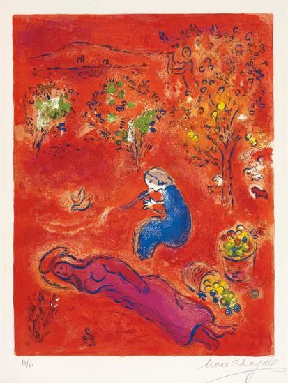 Marc Chagall-A Midi, L'Ete (At Noon, Summer), Pl. 11, From Daphnis Et Chloe-1961