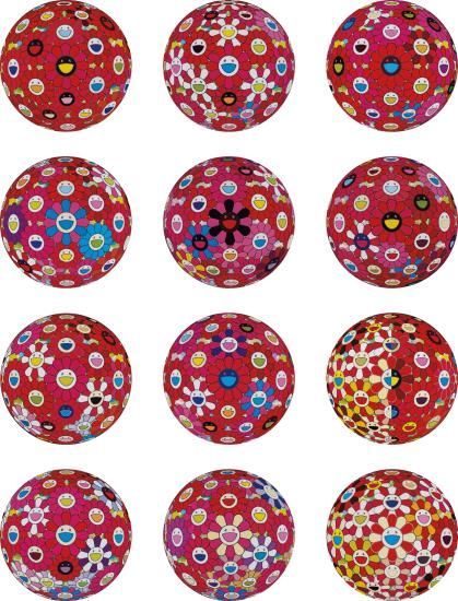 Takashi Murakami-Flowerball Red (3D) The Magic Flute; Flowerball (3D) - Turn Red; Flowerball (3D) - Red Ball; Flowerball (3D) - Red, Pink, Blue; Flowerball (3D) - Papyrus; Flowerball (3D) - Blue, Red; Groping For The Truth; Flowerball - Goldfish Colors (3D); There Is Nothing Eternal In This World. That Is Why You Are Beautiful; Letter To Picasso; Comprehending The 51St Dimension; And Hey! You! Do You Feel What I Feel?-2014