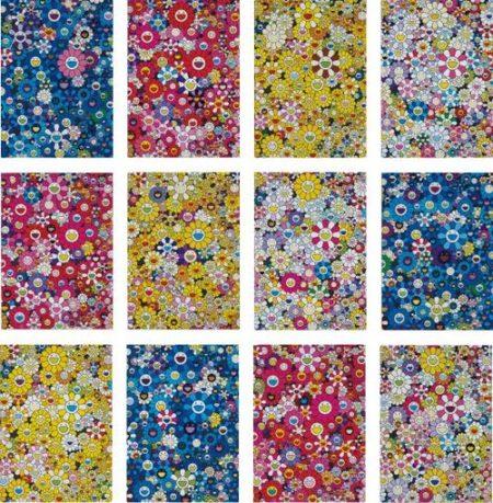 Takashi Murakami-An Homage To Ikb 1957 B; An Homage To Monopink 1060 C; An Homage To Monogold 1960 C; An Homage To Yves Klein, Multicolor C; An Homage To Monopink 1960 D; An Homage To Monogold 1960 B; An Homage To Yves Klein, Multicolor D; An Homage To Ikb 1957 C; An Homage To Monogold 1960 D; An Homage To Ikb 1957 D; An Homage To Monopink 1960 B; And An Homage To Yves Klein, Multicolor B-2012