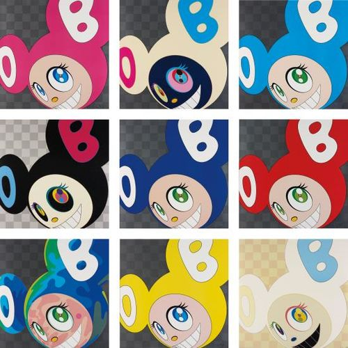 Takashi Murakami-And Then And Then And Then And Then And Then (Pink); And Then Platinum; And Then And Then And Then And Then And Then (Aqua Blue); And Then Black; And Then And Then And Then And Then And Then (Blue); And Then And Then And Then And Then And Then (Red); Melting Dob A; And Then And Then And Then And Then And Then (Yellow); And And Then Ichimatsu Pattern-2006